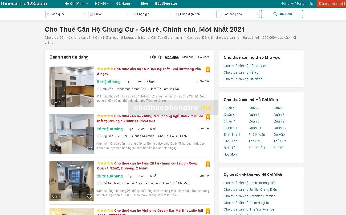Cho thuê căn hộ chung cư giá rẻ chính chủ