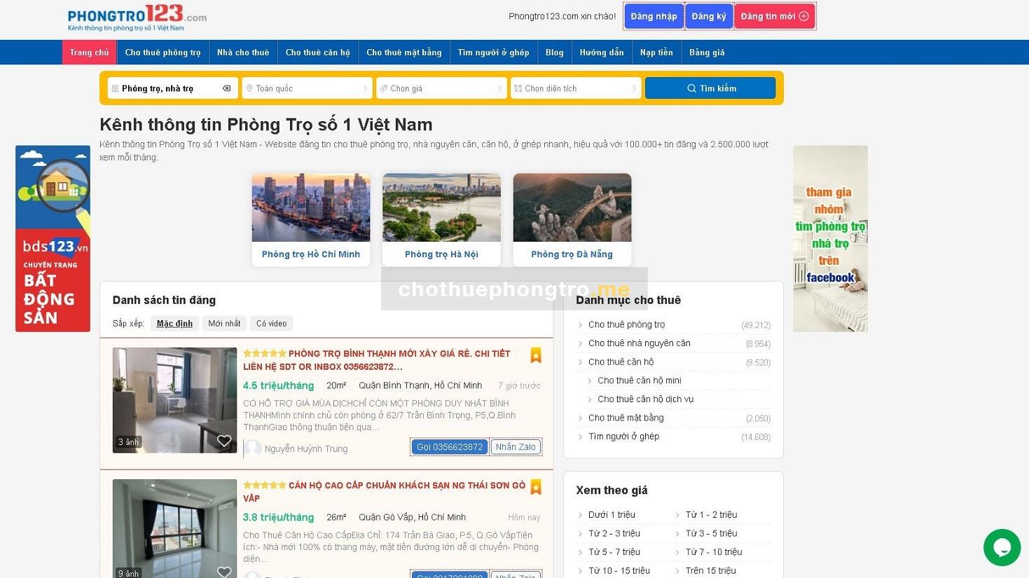 Phongtro123.com - Kênh thông tin phòng trọ số 1 Việt Nam