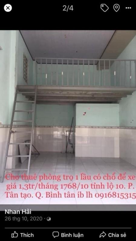 Phòng trọ cho thuê tại Tỉnh Lộ 10, Tân Tạo, Bình Tân. Phòng rộng rãi, sạch sẽ có gác, 14m2